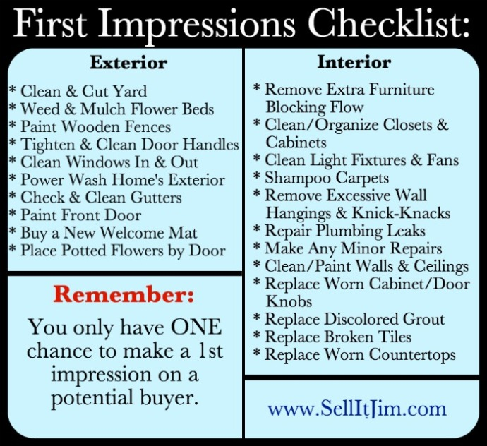First Impressions Checklist by SellItJim.com